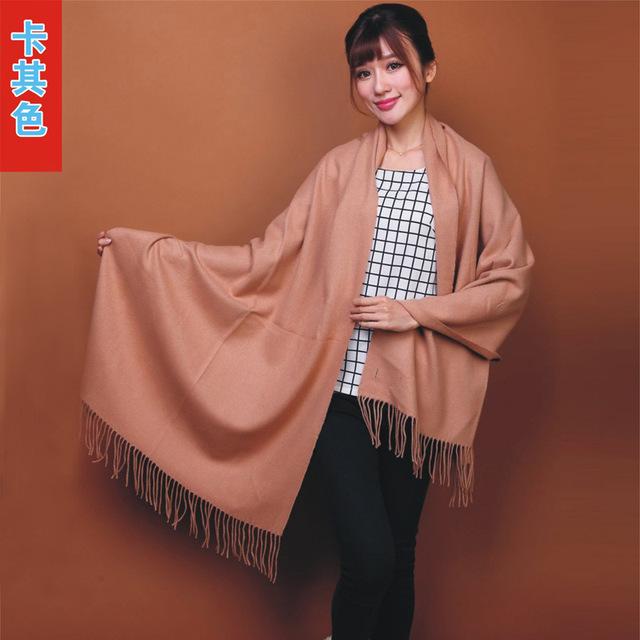 Moda 100% Lã de camelo das Mulheres Chinesas Pashmina Cashmere Scarf Shawl Borlas Envoltório Cor Sólida Frete Grátis