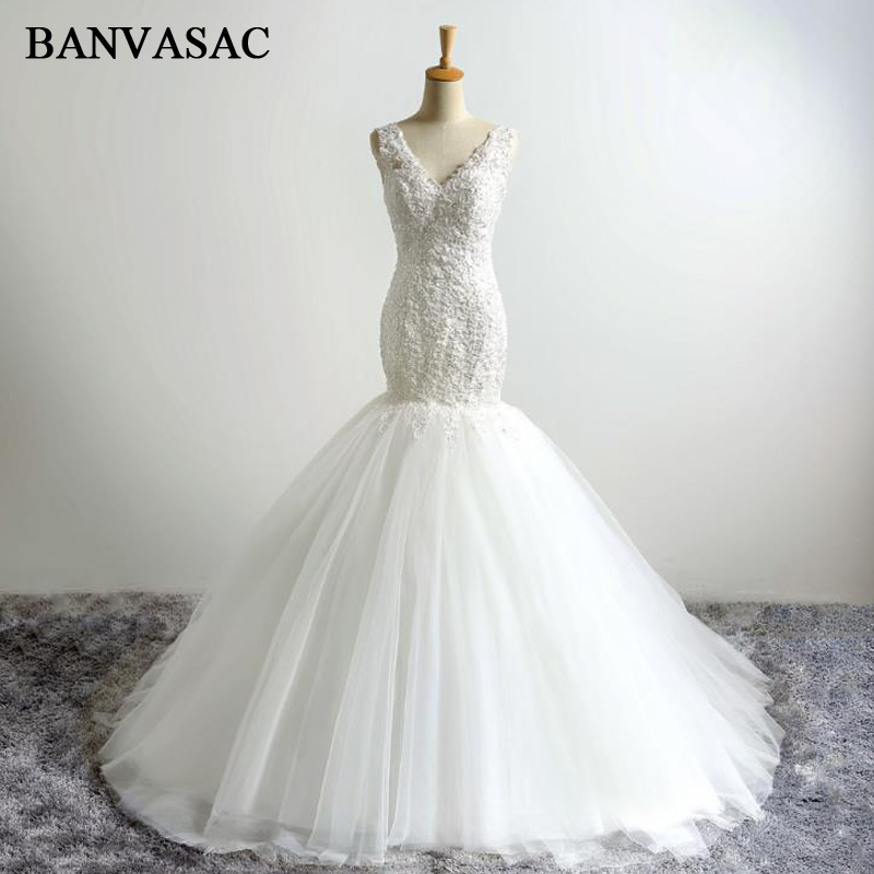 BANVASAC 2017 New Mermaid Sulaman Elegant V V Wedding Dresses tanpa lengan Beadings Satin Lace Pengantin Gaun