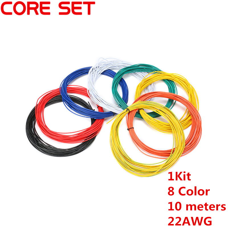 1pin Flexible Stranded 10 metres UL Wire 22 Gauge AWG 8 Colors Kit PVC Wires Electric cable,LED cable,DIY