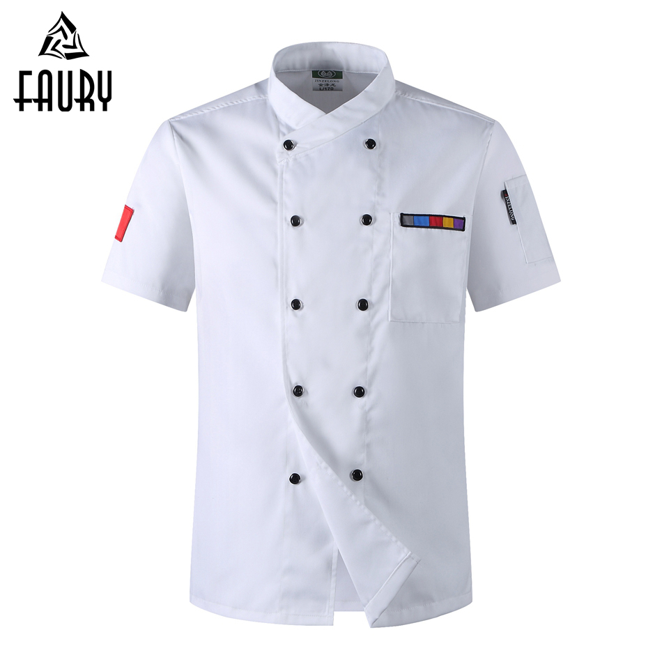5 Colors Wholesale Unisex Kitchen Chef Uniforms Short Sleeve Breathable Double Breasted Chef Jackets & Apron Bakery Food Service
