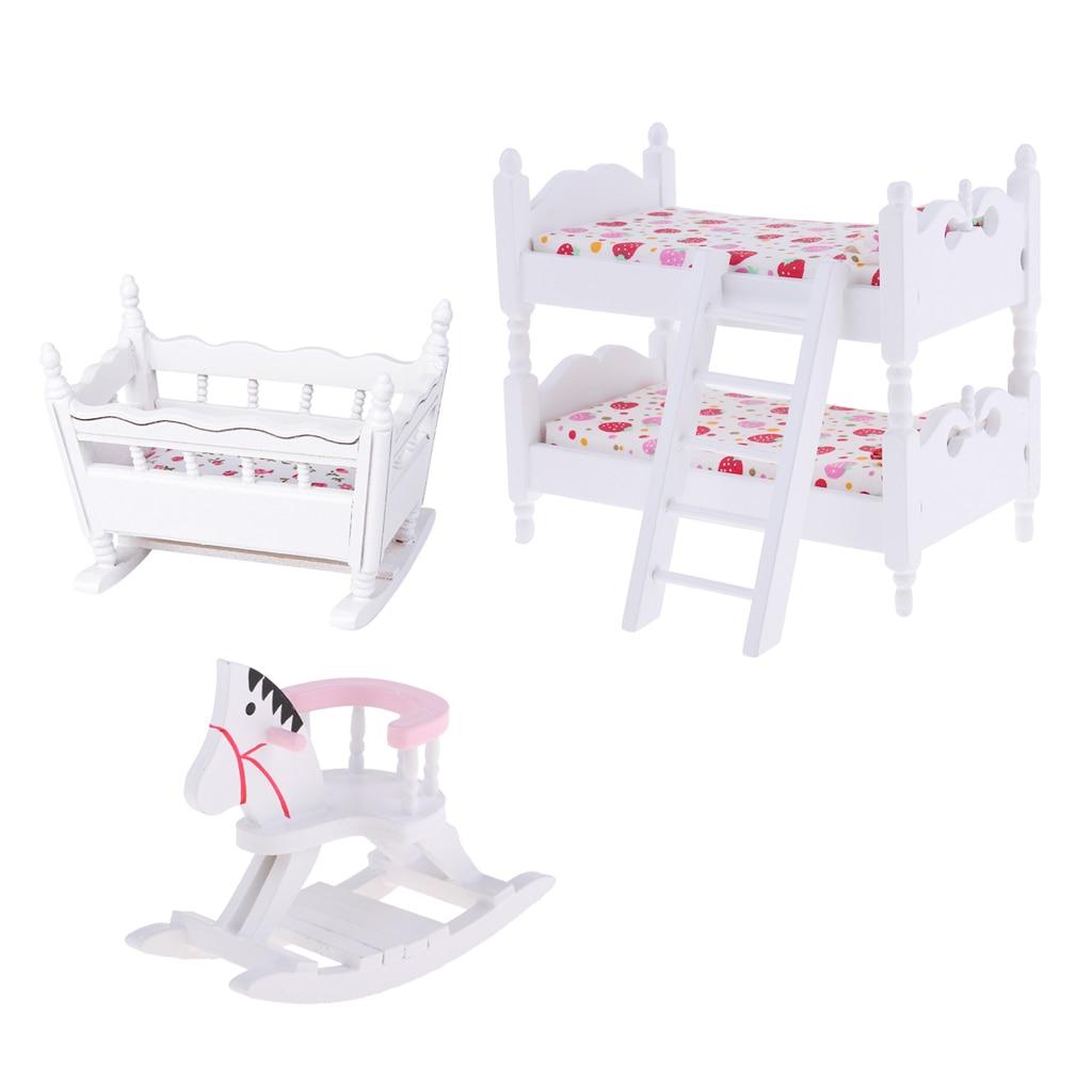 White 1/12 Scale Dollhouse Furniture Children Nursery Bedroom Bunk Bed Cradle Rocking Horse Set