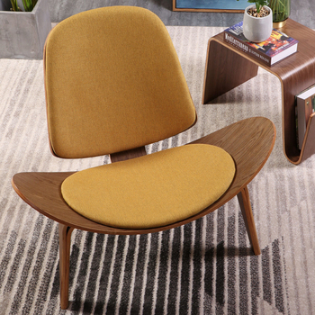 Hans Wegner Style Three-Legged Shell Chair Plywood Linen Fabric Seat Cushion Living Room Furniture Modern Lounge