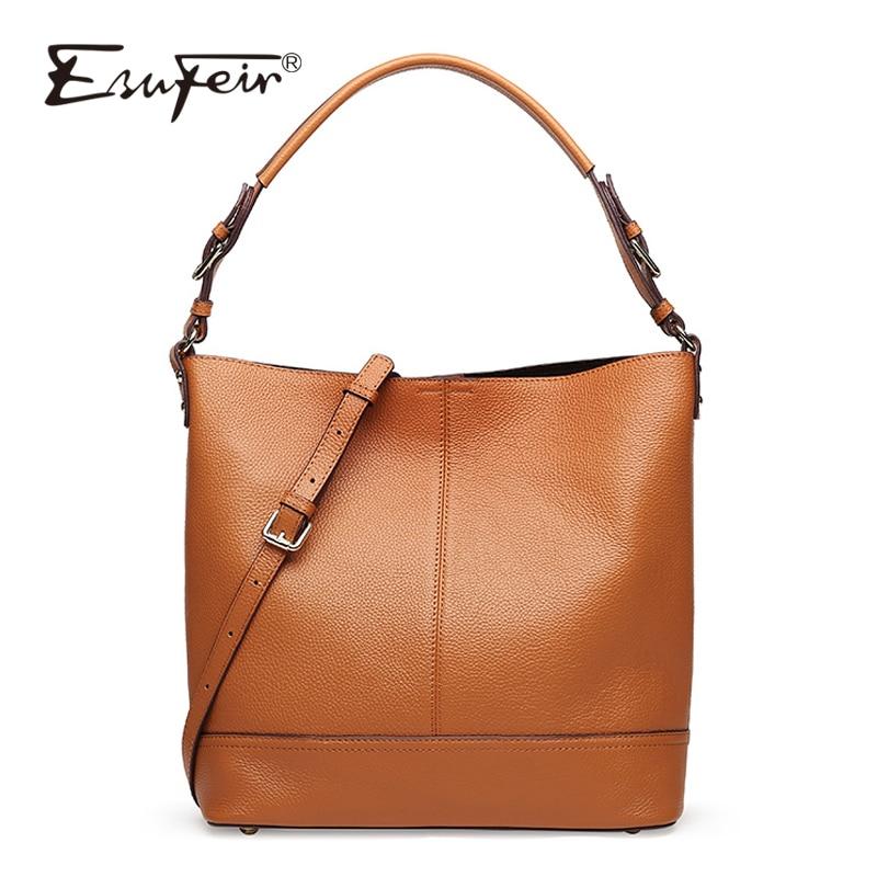 ESUFEIR Brand Genuine Leather Handbag for Women Fashion Casual Tote Bags Famous Design Women Crossbody Bag