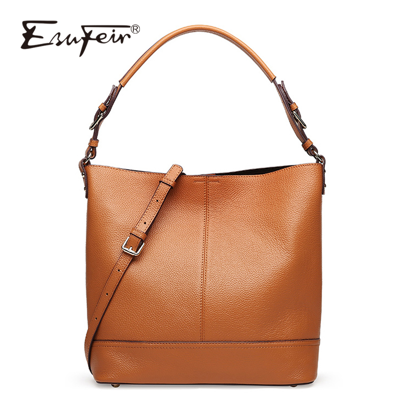 ESUFEIR Brand Genuine Leather Handbag for Women Fashion Casual Tote Bags Famous Design Women Crossbody Bag Female Shoulder Bag esufeir genuine leather handbag for women fashion brand designer shoulder bags cow leather crossbody bag ladies trapeze tote bag