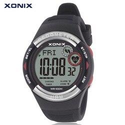 XONIX 100m Waterproof Pedometer Heart Rate Monitor Calories BMI Men Sport Watch Women Running Diving Wristwatch Digital Watch