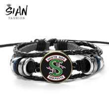 SIAN Trendy Riverdale Genuine Leather Bracelet Pop's South Side Serpents Printed Glass Cabochon Wood Beads Charm Bracelet Bangle(China)