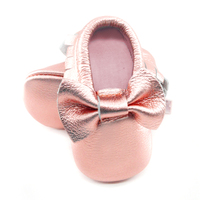 New Shine Pink Genuine Leather Baby Moccasins Bow First Walkers Soft Rose Gold Baby Girl Shoes