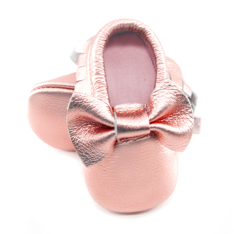 1ec35c13f6067 2019 New Shine Pink Genuine Leather Baby moccasins bow First Walkers Soft  Rose gold Baby girl shoes infant Fringe boys Shoes