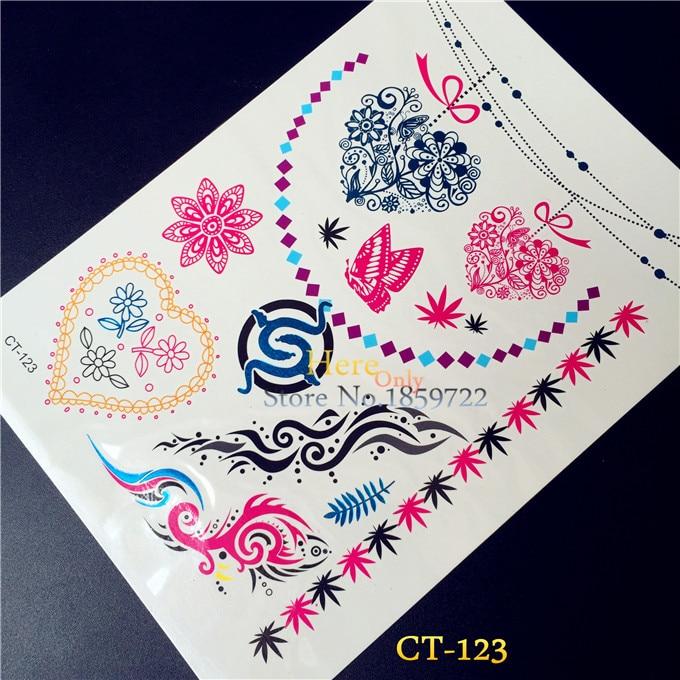 Blue Henna Tattoo: 1PC New Trendy Colorful Flash Tattoo Pink Blue Henna
