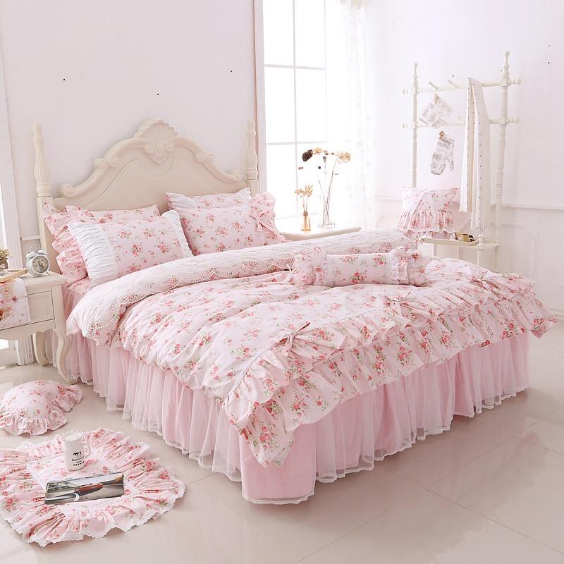 100% 코튼 한국어 공주 스타일 레이스 걸스 3/4 pcs 이불 커버 이불 커버 침대 스커트 베개 커버 세트 핑크 꽃-에서침구 세트부터 홈 & 가든 의  그룹 1