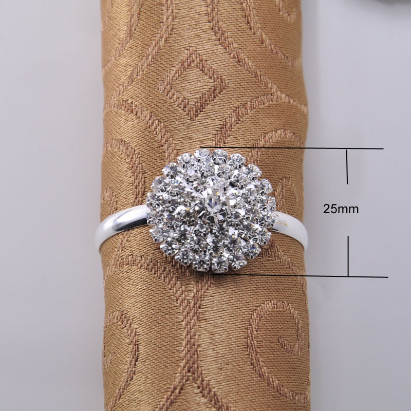 (L0270-ring) 25mm ,20pcs/lot ,ring Size: 38mm Fashion Flower Rhinestone Napkin Rings For Wedding Table Decoration,silver Plating