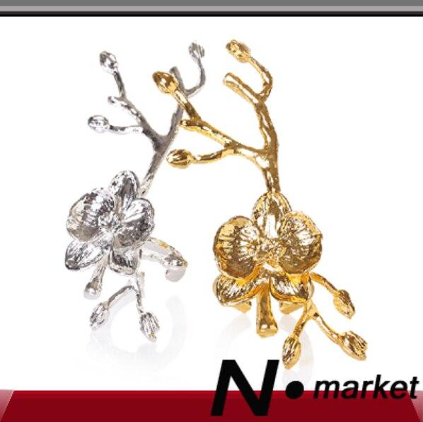 100ks zlatý stříbrný větev kovový kroužek na ubrousek pro svatební speciální stolní dekorace ubrousek držák N.market