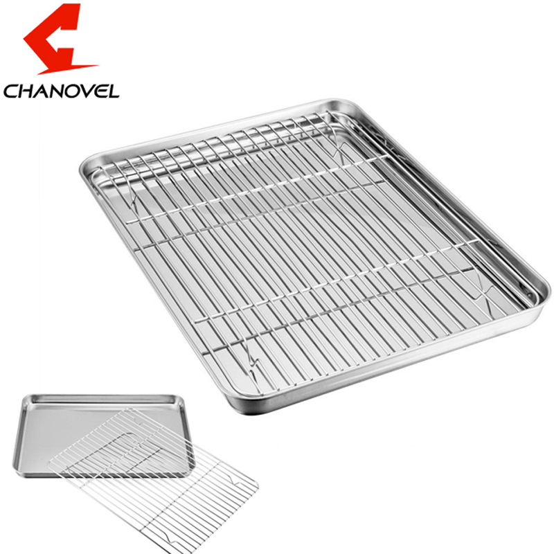 CHANOVEL Baking Tray with Removable Cooling Rack Set Stainless Steel Baking Pan sheet used for oven