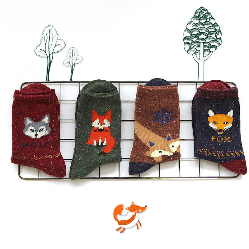 2018 New Korean Kawaii Animal Wool   Socks   Winter Autumn Women Owl Cat Deer Fox Wolf Cartoon Patterned   Sock   Cute Thermal   Socks