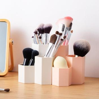 Cosmetics Organizer Nail Polish Makeup Tools Pen Holder Rack 3 Lattices Jewelry Brush Storage Case Office Desk Organizer