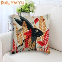 Cute Cartoon Rabbit Printed Linen Cotton Seat Cushion Decorative No Filling Throw Pillows For Children Room Decoration