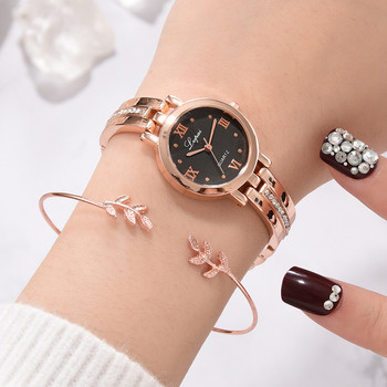2019 new Europe and America small and exquisite bracelet watch Roman numerals diamond watch strap alloy ladies watch %7
