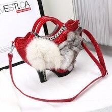 Neue herbst und winter gute frauen handtaschen hochhackigen form paket fox head crossbody-tasche weibliche totes fashionista bankett tasche