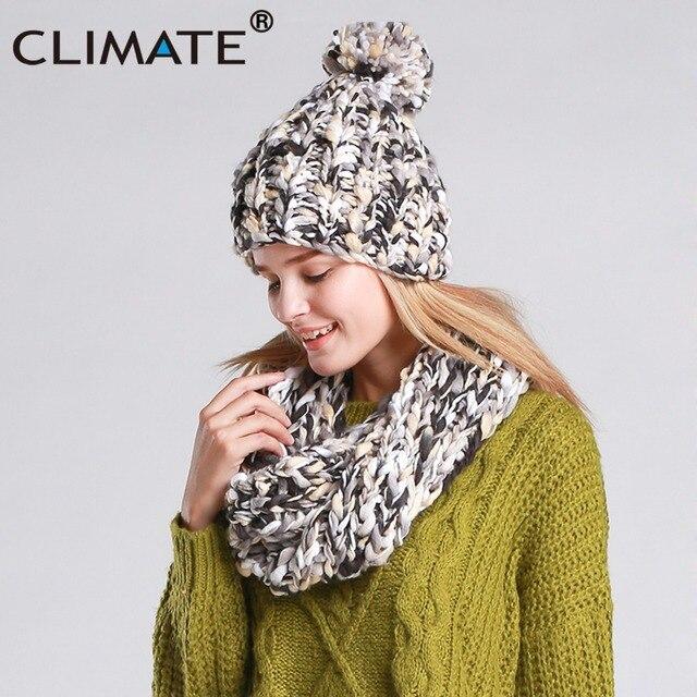 a4d39033890a CLIMAT Femmes Chapeau D hiver Et Écharpe Ensemble Chaud Filles Lady Knit  Pompom Beanie Sacrf