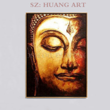 Professional artists hand-made high-quality abstract painting oil of gold Buddha hand-painted