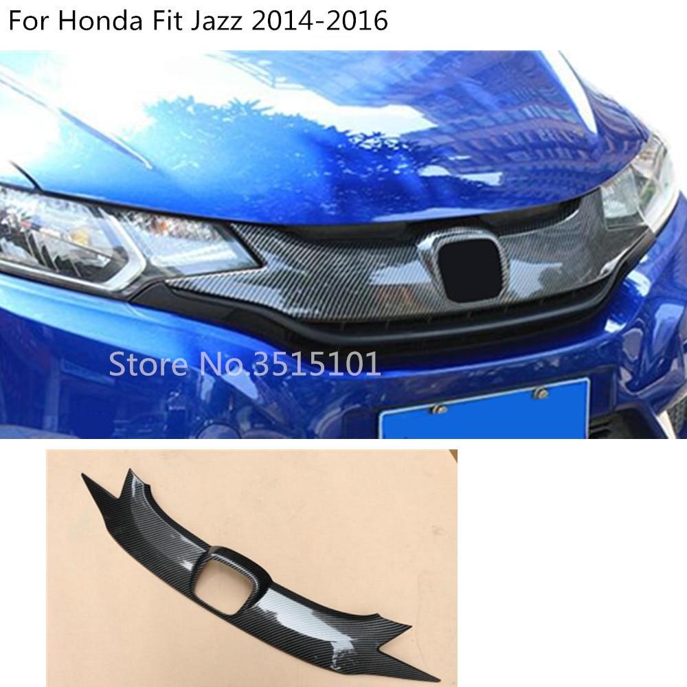 car protect detector Carbon Fibre trim Front up head Grid Grill Grille panel molding part 1pcs For Honda Fit Jazz 2014 2015 2016car protect detector Carbon Fibre trim Front up head Grid Grill Grille panel molding part 1pcs For Honda Fit Jazz 2014 2015 2016