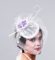 Kadın Chic Fascinator Şapka Kokteyl Düğün Parti İnanılmaz Fascinator Peçe Tüy Kafa beyaz Kadınlar Gelin sinamay MD16022
