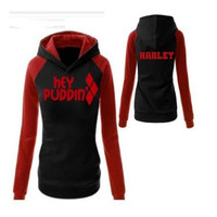 BOOCRE Movie Suicide Squad Harley Quinn Cosplay Sportswear Jogger Hooded Shirt Women Casual Sportswear