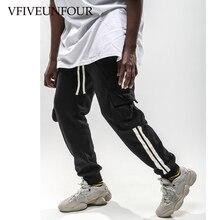 VFIVEUNFOUR Hip Hop Side Striped Pockets Harem Joggers Cargo Pants 2019 Mens Baggy Harajuku Sweatpants Casual Trousers