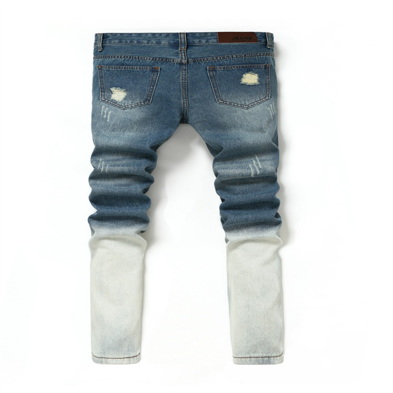 ФОТО Brand Mens Jeans Straight Ripped Jeans For Men Zipper Fly Denim Jeans Men Fashion Designer Pants Blue Jeans Homme 28-36