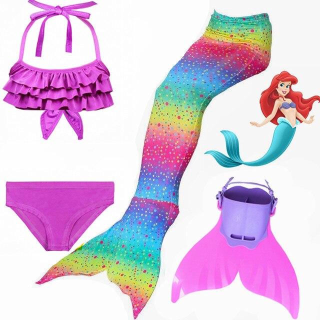 HOT!4pcs/Set Rainbow Children Mermaid Tail with Diamonds with Monofin Girls Kids Costume Swimming Swimmable Mermaid Tail Costume