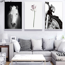 Nordic Fine Art giclee canvas Wall art horse motor painting Pictures print  living room Decoration MN