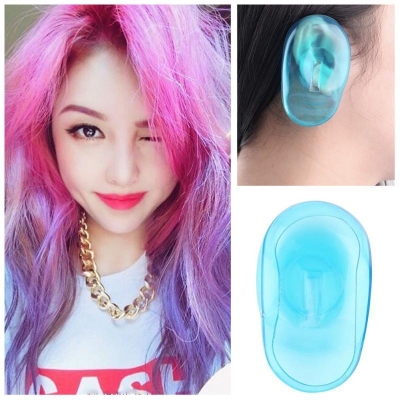 2Pcs Earmuffs Salon Hair Dye Transparent Blue Silicone Ear Cover Shield Barber Shop Anti Staining Earmuffs Protect Ears #137