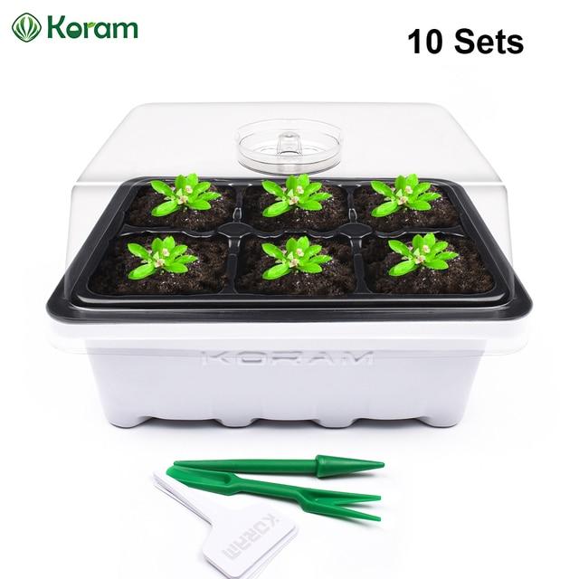 Paquete de 10 KORAM 6 celdas grandes bandeja de semillas de maceta de guardería Caja de cultivo de jardinería Kit de germinación de arranque de plántulas con planta de tapa etiqueta