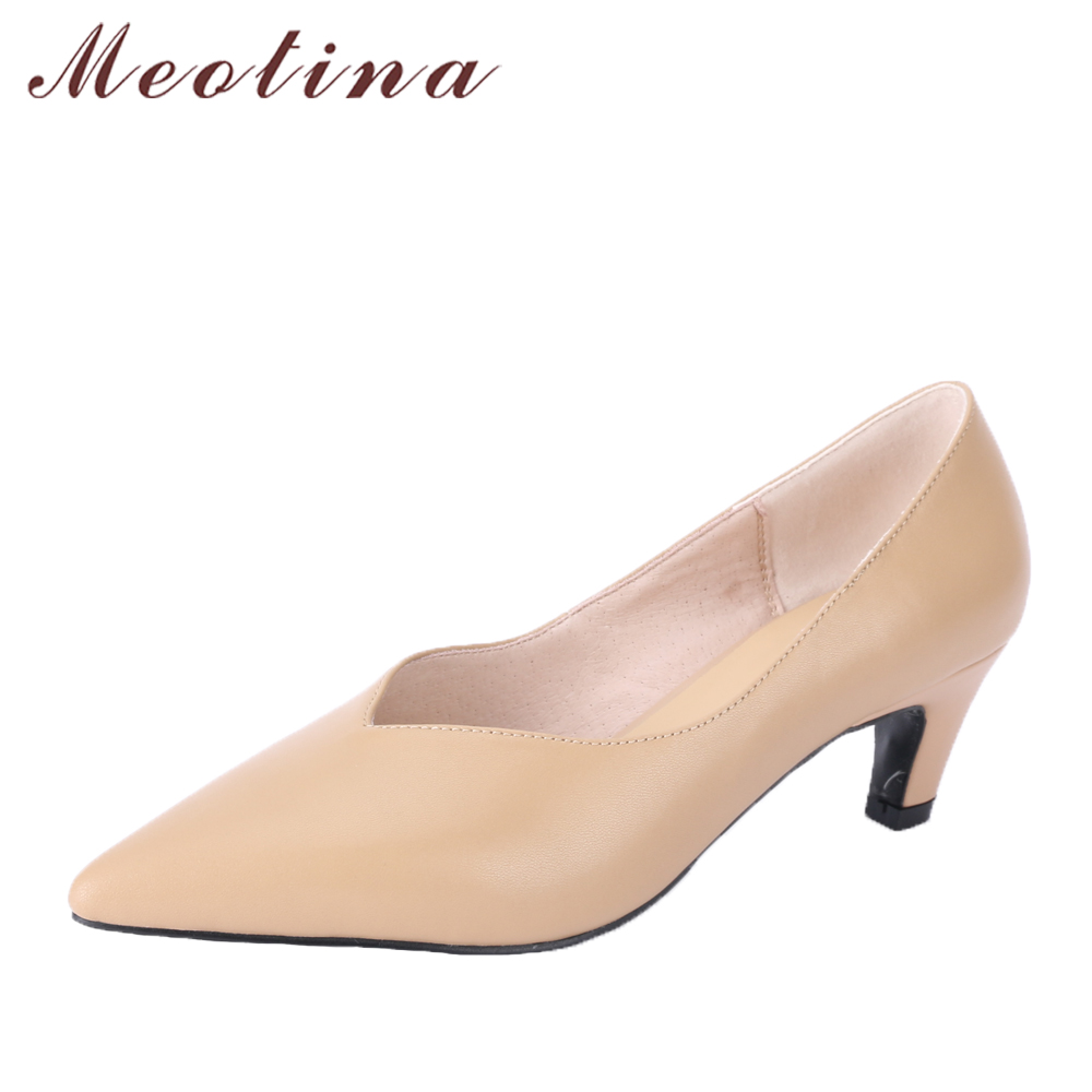 Meotina Genuine Leather Women Pumps Med High Heels Dress Shoes Slip On Nose Spike Heel Ladies Pumps Plaid 2018 Spring Size 34-39 2017 shoes women med heels tassel slip on women pumps solid round toe high quality loafers preppy style lady casual shoes 17