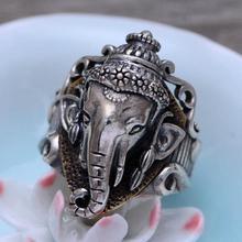 100% реальные 925 серебро слон ювелирные изделия кольца мужские винтажные Стиль Ганеша Индии украшения