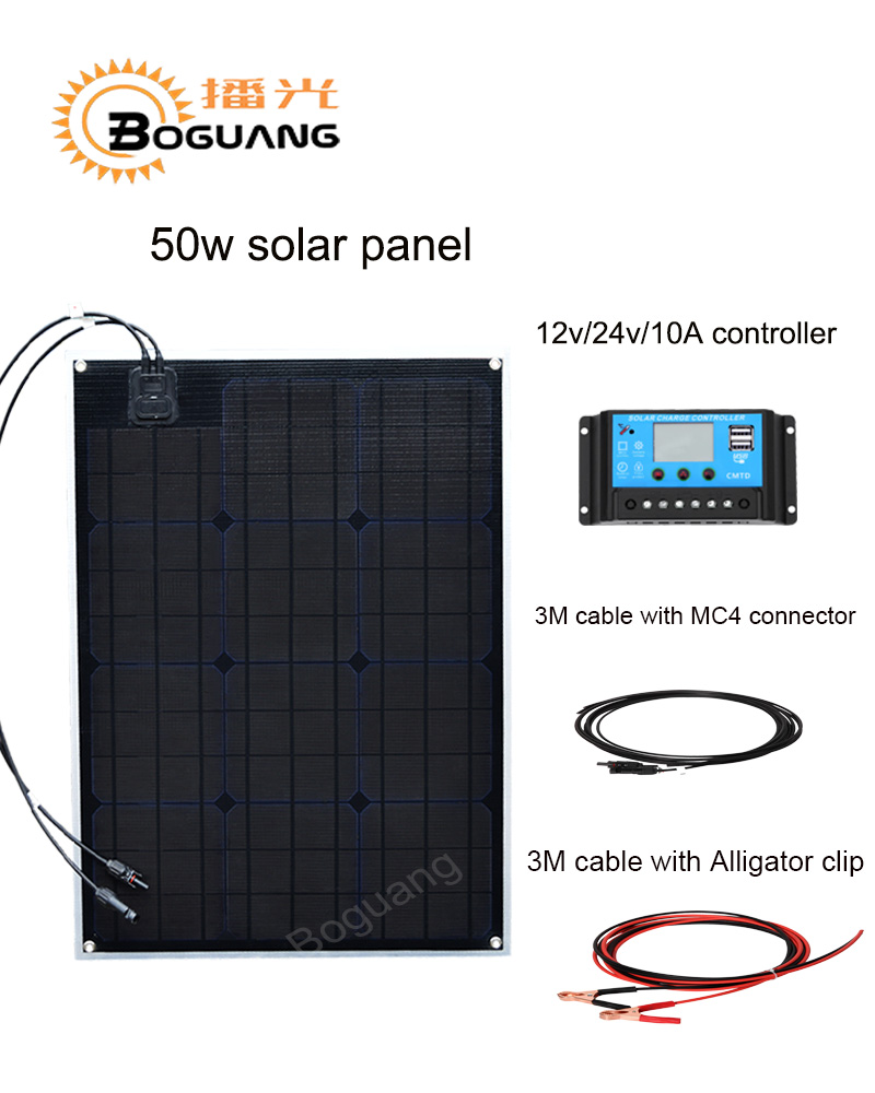 Boguang 50w solar panel ETFE Monocrystalline cell PCB module MC4 connector 10A controller for 12v battery RV yacht power charger boguang 50w flexible solar panel high efficiency monocrystalline silicon cell 10a controller cable for 12v battery rv yacht car