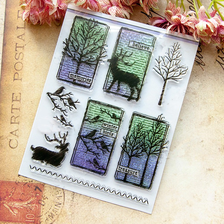 scrapbook DIY VINTER TREE BIRD 14*18cm ACRYLIC clear STAMPS PHOTO timbri carimbo stamp tampons encreurs scrapbooking from 2012 ea1420 1ms new 0626 coastal bird stamps