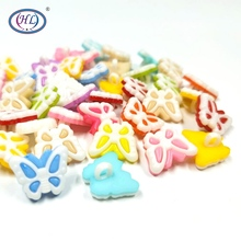 HL 30/60/120pcs  Mixed Colors Combined Shank Butterfly Plastic Buttons Childrens Sewing Accessories DIY Scrapbooking Crafts
