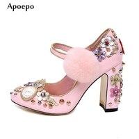 Apoepo 2018 Лидер продаж кристалл цветок украшен Обувь на высоких каблуках Заклёпки шипованных розовый кожаный толстый каблук свадебные туфли