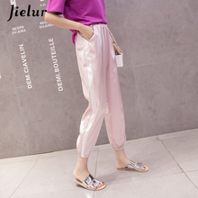 Jielur Summer Casual Side Stripe Pocket Women Trousers Loose Streetwear Silk Harem Pants Elastic Slim Black Pink Pantalones