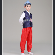 d7c73f6db596 Boy Korea Traditional Costume Child Hanbok Clothing Kids 5 Color Korean  Hanbok with Hat For Stage