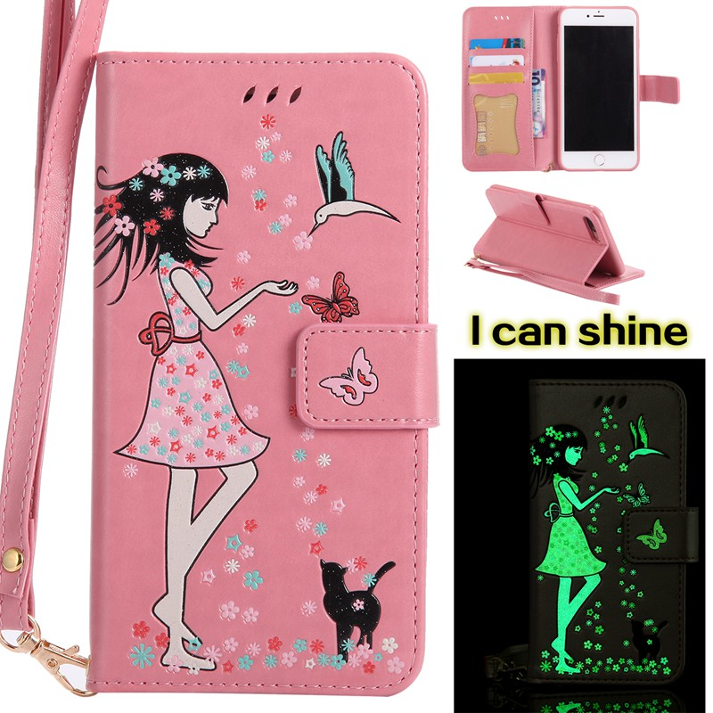 MuTouNiao Luminous Pink Card Slot Wallet PU Leather Stand Flip Case Cover For iPhone 7 Plus/iPhone 8 Plus