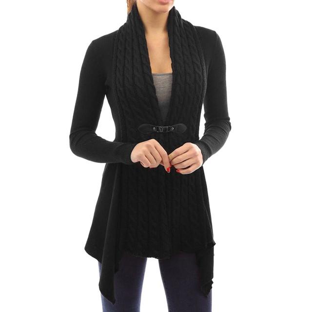Mediana moda largo de cachemira chaqueta de punto de las mujeres suelta de manga larga suéter casual khaki punto outwear