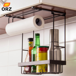 ORZ Kitchen Storage Organizer Paper Holder Towel Hanger Spice Seasoning Storage Rack Cabinet Hanger Hook Kitchen Organizer Shelf