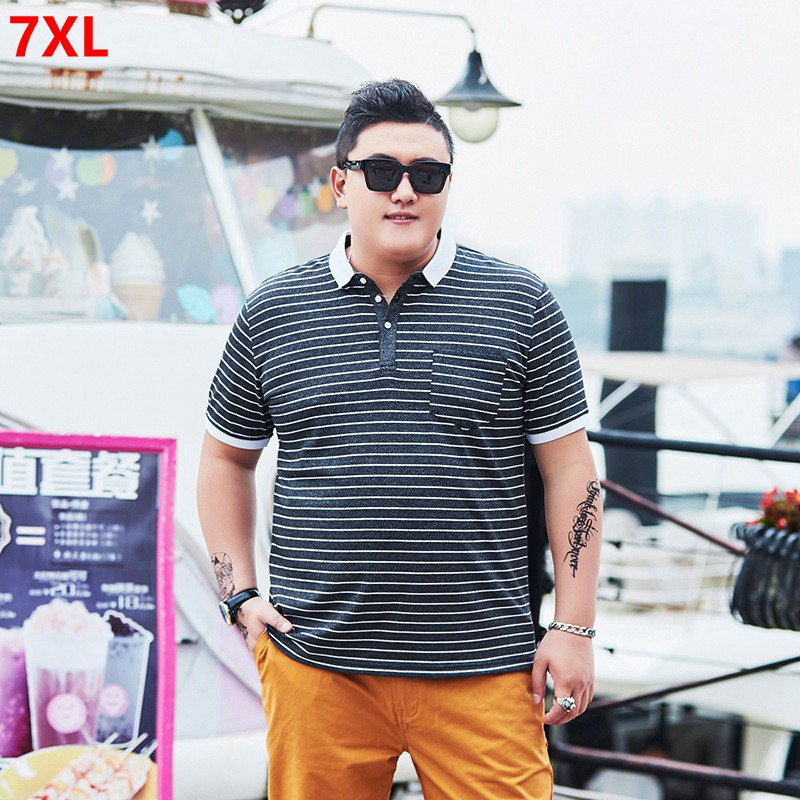 Summer tide big size men's short-sleeved   polo   plus fertilizer XL loose striped clothes