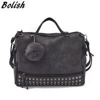 Vintage Nubuck Leather Top Handle Bags Rivet Larger Women Bags All Match Hair Ball Shoulder Bag