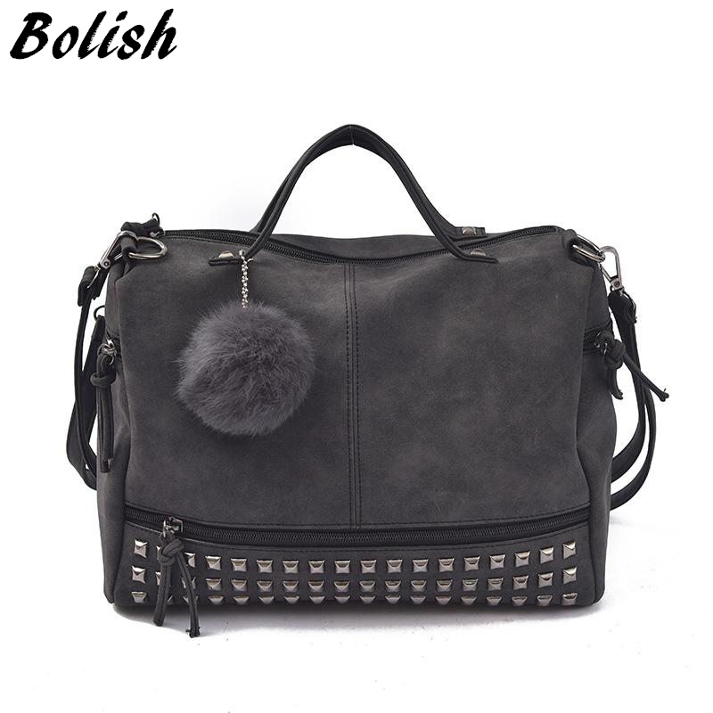 Bolish Vintage Nubuck Leather Female Top-handle Bags Rivet Larger Women Bags Hair Ball Shoulder Bag Motorcycle Messenger Bag
