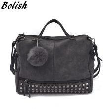 Bolish Vintage Nubuck Leather Female Top-handle Bags Rivet Larger Women Bags Hair Ball Shoulder Bag Motorcycle Messenger Bag(China)