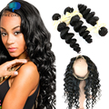 Predazzle 10A 360 Lace Frontal with 2 or 3 Bundles Pre Plucked Loose Wave Brazilian Virgin Human Hair with 360 Closure Baby Hair