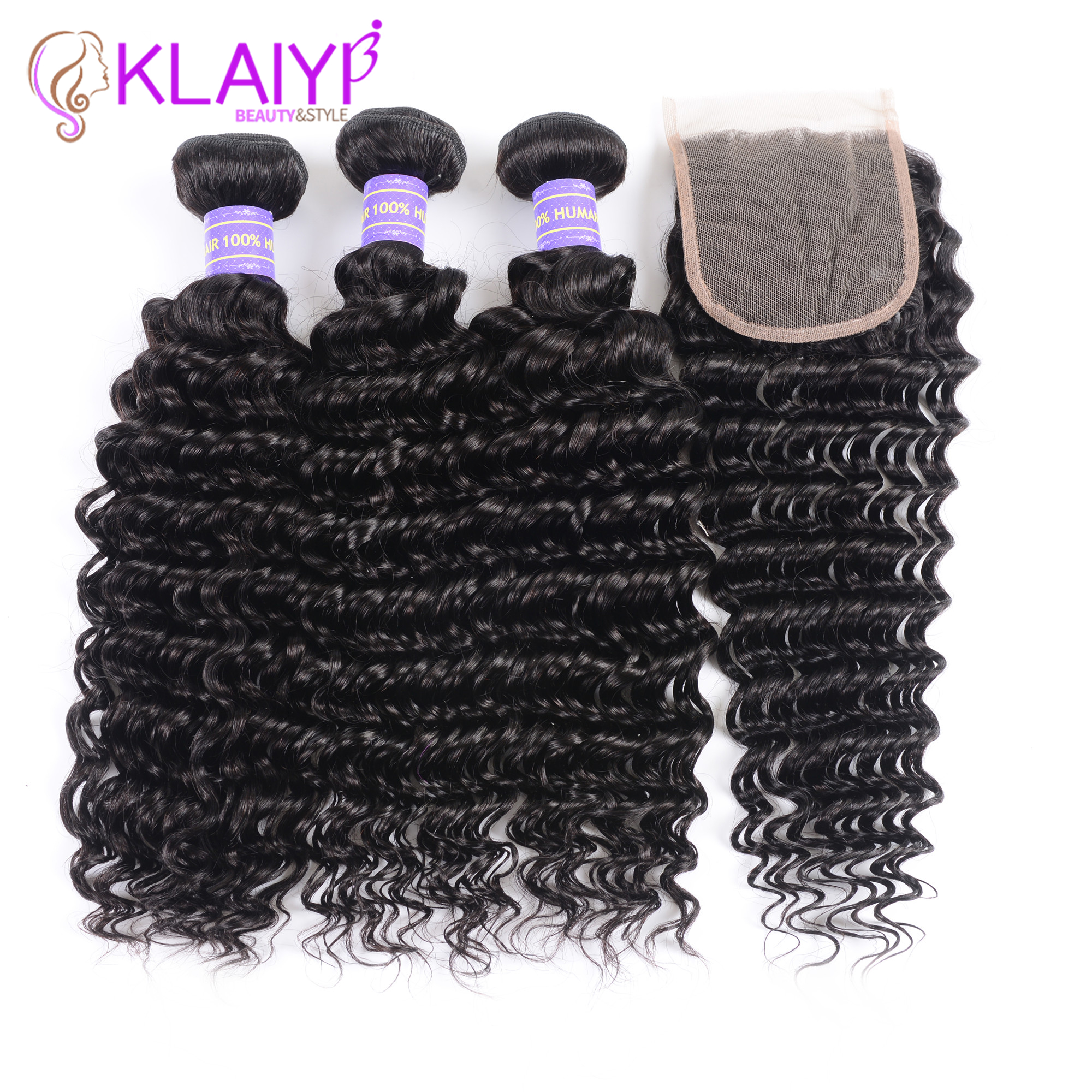 Klaiyi Hair Brazilian Deep Wave Bundles With Closure Free Part Human Hair Bundles With Closure Dark